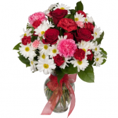 roses , carnations and daisies Vase Arrangement