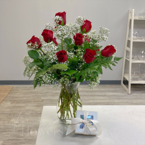 Roses & Chocolat Vase Arrangement in Middletown, NJ | Fine Flowers