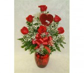 Roses & Chocolate Vase (local delivery only;heart-box available Jan. & Feb. only)
