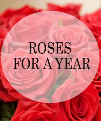 ROSES FOR A YEAR  Every month one dozen roses delivered  to your sweetie.