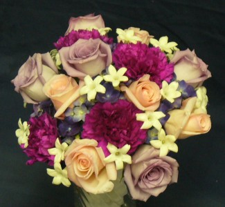 Roses, Hydrangea, Stephanotis, Carnations Hand Tied Bridal Bouquet