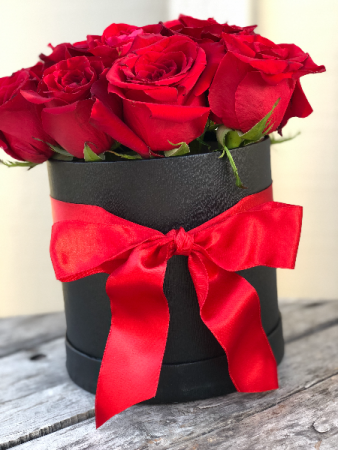 Roses in a Black Box Flower Box