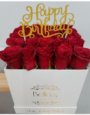 25 Red Roses In A Box Happy Birthday