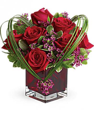 Roses in cube Fresh Flowers