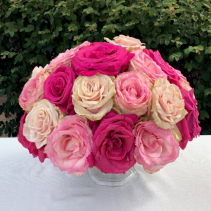 Large Footed Bowl With Roses Centerpiece