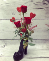 Roses in High Heel Vase Roses