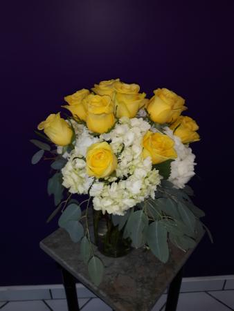 Roses in Hydrangea vase arrangement