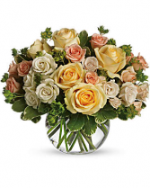 Roses In Ivory, Peach And Yellow Roses