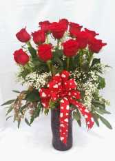Roses In Red Vase Arrangement