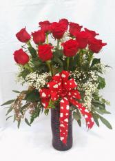 Roses In Red Vase Arrangement