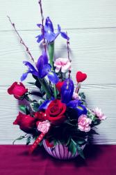 Roses & Iris in Tulip Bowl