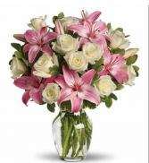 Roses & Lilies Birthday Arrangement