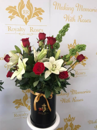 Roses & Lilies Cylinder Tall Box Roses & Lilies