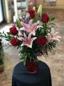 ROSES & LILIES IN RED VASE    M20