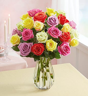 Roses of colors vase