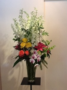 Roses, Lilies Delphinium and Orchids va-110