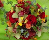 ROSES, ORCHIDS, HYPERICUM WEDDING BOUQUET