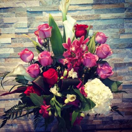 Roses & Orchids  Vase arrangement