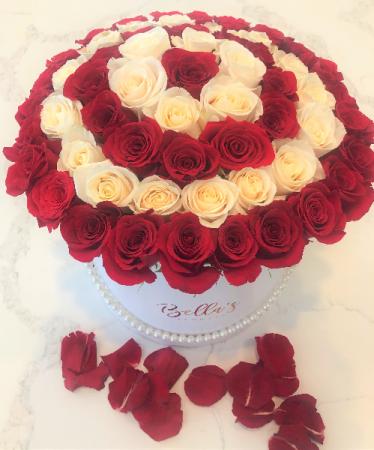 ROSES & PEARLS 50 RED & WHITE PREMIUM ROSES
