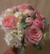 ROSES, RANUCULAS, HYDRANGEA, DUSTY MILLER WEDDING BOUQUET