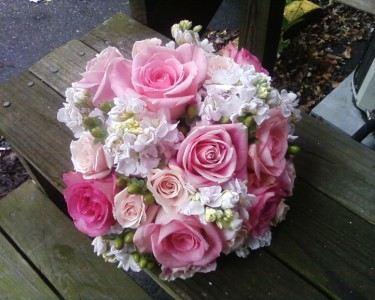 Roses, Stock and Berries Wedding Bouquet