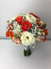 Roses, Stock, Spray Roses and Baby Breath Bridal or Brides Maid Bouquet