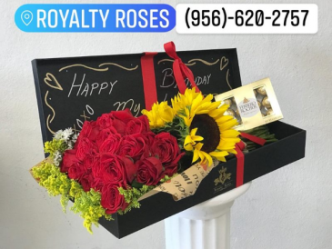 Roses & Sunflowers in long box Bouquet in long box