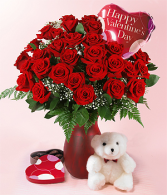 Roses, Teddy Bear & Chocolates