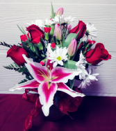 Roses, Tulips & Lilies in Frosted Vase
