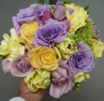 ROSES, TULIPS, LISIANTHUS, GREEN MINI HYDRANGEA WEDDING BOUQUET