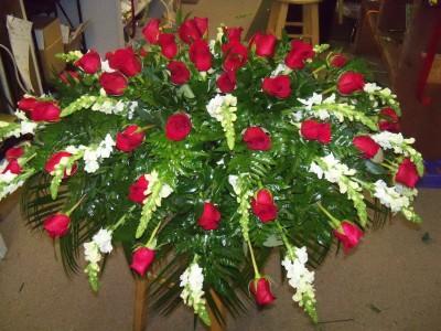 Roses & White Snapdragons Casket Blanket