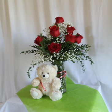 Roses with a Hug Vase