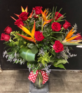 Roses With a Tropical Touch Vased Arrangement