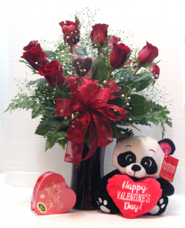 Roses with candy and a bear Dozen roses with handmade candy and a bear
