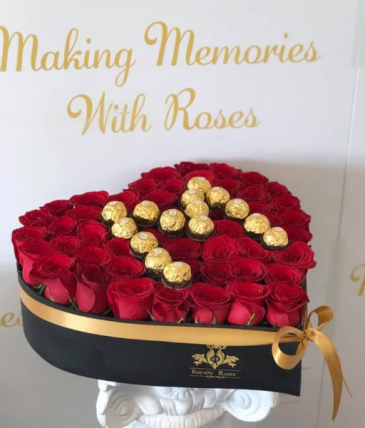 Roses with Ferrero Heart #2 Heart Shape Box