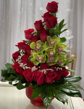 Roses with Orchids Anniversary