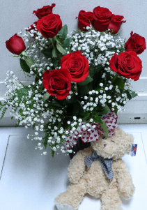 roses with plush valentine