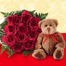 Doz. Roses  & bear