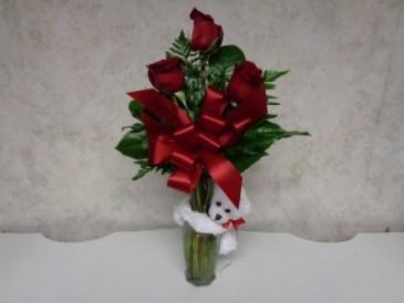 Rosey Bear Bud Vase