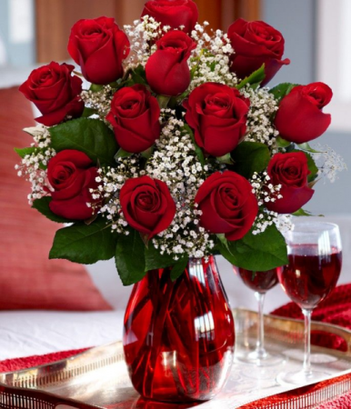 Rosey Red Vase