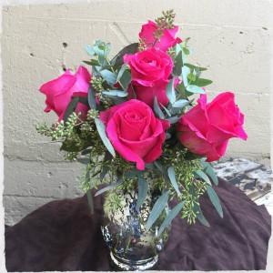 "Rosey Romance ""PINK"" Vased Arrangement in Auburn, AL | AUBURN FLOWERS & GIFTS"
