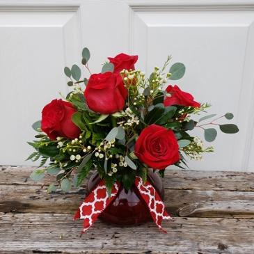 Red Rosey Romance  Half Dozen Roses