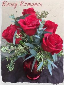 "Rosey Romance ""RED"" Vased Arrangement in Auburn, AL | AUBURN FLOWERS & GIFTS"