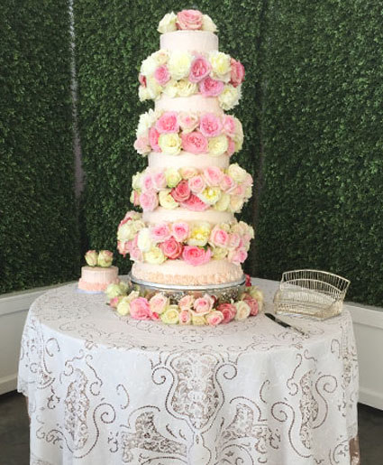 Rosey Waterfall Wedding Cake Flowers