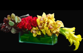 (yellow orchids & calla rectangular)