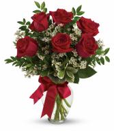 Rosie Red Romance Half Dozen Rose Arrangement