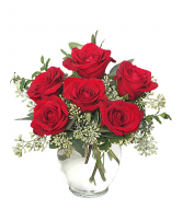Rosy 1/2 Dozen Red Roses