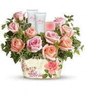 ROSY DELIGHTS Flowers,lotion and candle