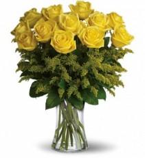 Rosy Glow Dozen Roses Vase