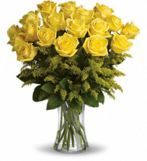 ROSY GLOW yellow 18 ROSES VASED
